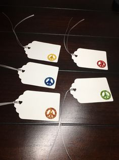Paper Peace Tags, Custom Peace favor tags, 1970s Gift Tags, Hippy tags, 1960s Peace Signs tags, Printed Psychedelic tags Groovy tags-5/order Favor Tags, Gift Tags, Colour List, Psychedelic, Card Stock, Favors, Place Cards, Orange Yellow, Blue