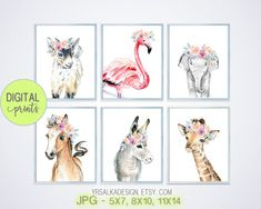 Digital - Baby animals wall art set 6, flower safari art, nursery art girl, animal prints, Farm girl decor, Baby room art
