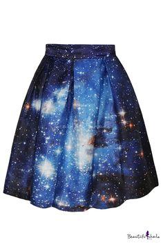 Blue Galaxy Print Flare A-Line Skirt - Beautifulhalo.com