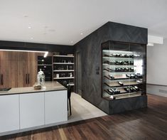 Project by Michael Godmer- Herringbone slate wine cellar. Project by Michael Godmer Herringbone slate wine cellar. Project by Michael Godmer - Kitchen Room Design, Kitchen Dinning, Modern Kitchen Design, Modern House Design, Kitchen Interior, Home Interior Design, Kitchen Decor, Home Wine Cellars, Wine Cellar Design