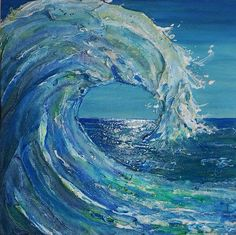 BIG lil' Wave 8x8 highly textured by- Edyta Salak www.edytaart.com Acrylic Painting Tips, Acrylic Art, Painting Inspiration, Art Inspo, Art Watercolor, Wave Art, Surf Art, Beach Art, Ocean Waves