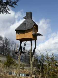 This reminds me of that russian story, about the girl with the little russian doll (the doll within a doll), and how the evil old women lived in a house on stilts.   tree house
