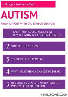 5 things I learned about autism & hyperlexia from a night with Dr. Temple Grandin from And Next Comes L, for related pins and resources follow https://www.pinterest.com/angelajuvic/autism-special-needs/