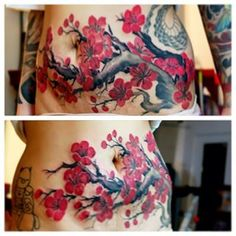 """Cherry blossom coverup pregnancy stretch mark on my wife Abby"" MasterMike - InkFiendArt Tattoo, Alhambra, California"