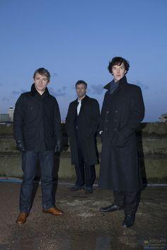 John, Inspector Lestrade, and Sherlock --- Looking like a band. <- Lestrade and the Baker Street Babes. <--- Karen and the Babes: Sherlock edition Sherlock Bbc, Sherlock Season, Benedict Cumberbatch Sherlock, Martin Freeman, Hipsters, Detective, Rupert Graves, Mrs Hudson, Sherlolly