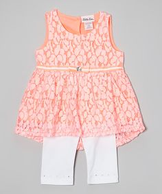 Love this Little Lass Pink Hi-Low Tunic  White Leggings - Infant, Toddler  Girls by Little Lass on #zulily! #zulilyfinds