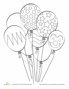Worksheets: Balloon Coloring Page