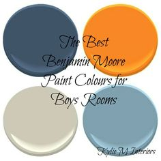 the best benjamin moore paint colours for boys rooms palette.....BINGO! The EXACT colors plus gray that I want to use in Owen's room