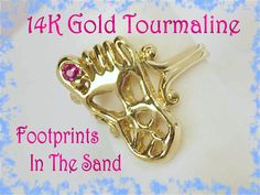 14K Gold - Footprints in The Sand - Pink Tourmaline Artisan Foot Ring - Custom Made OOAK - Christian Beach Modernist Modern - FREE SHIPPING by FindMeTreasures on Etsy