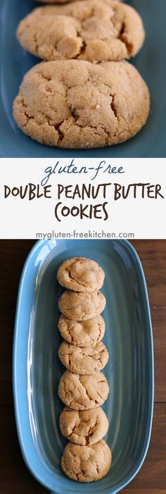 Gluten-free Double Peanut Butter Cookie recipe with dairy-free option. Everyone always grabs seconds when I bring these cookies anywhere!