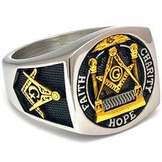 Blue Lodge Master Mason Ring This Degree Blue Lodge ring begins with high-quality stainless steel, and is embellished with gold plating on the front, left and right sides for a beautiful two-tone finish. The face of this Blue Lodge Mast. Blue Lodge Masonic Rings, Freemason Ring, Masonic Jewelry, Eastern Star, Freemasonry, Blue Plates, Metal Bar, Silver Bars, Ring Bracelet