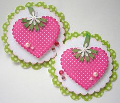 cute strawberry card or tag. Card Tags, Gift Tags, Simple Hand Embroidery Patterns, Candy Cards, Pocket Letters, Paper Tags, Scrapbook Embellishments, Cardmaking, Scrapbooking