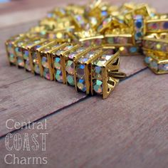 6mm Antique Gold Brass Czech Glass AB Rhinestone Squaredelle Rondelle Square Spacers 20 pcs - Vintage Shabby Style -Central Coast Charms