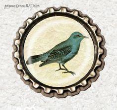 -f050b- Kronkorken Magnet,VINTAGE BIRD, € 2,80 , bottlecap von Mondcatze´s Zauberwerkstatt auf http://de.dawanda.com/shop/Mondcatze