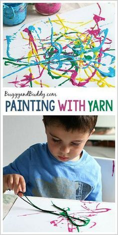 Process Art for Preschoolers: Painting with Yarn - Buggy and Buddy - http://www.oroscopointernazionaleblog.com/process-art-for-preschoolers-painting-with-yarn-buggy-and-buddy/