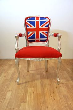 antique Louis Union jack british flag armchair red and silver vintage furniture