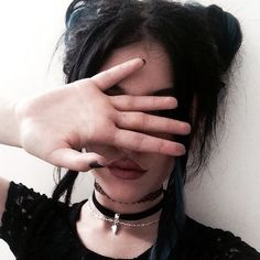 Image via We Heart It https://weheartit.com/entry/164448452/via/10252423 #black #chokers #girl #goth #grunge #hairstyle #makeup #messyhair #nails #pretty