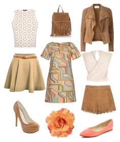 """""""Peach and brown"""" by jofobbester ❤ liked on Polyvore featuring Amanda Wakeley, CO, Michael Antonio, Alexander McQueen, Zara, Warehouse, River Island, Bella Marie, women's clothing and women's fashion"""