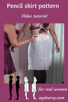 DIY pencil skirt: how to make a pencil skirt pattern - Ageberry: helping you succeed in sewing Sewing Hacks, Sewing Tutorials, Sewing Tips, Sewing Ideas, Sewing Crafts, Leftover Fabric, Love Sewing, Sewing Projects For Beginners, Learn To Sew