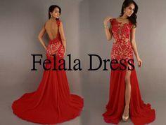 Lace prom dress2014 - long party dress / chiffon party dress/ Sexy prom dress /long formal evening dress / red party dress / prom dress 2014