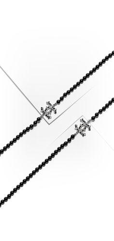 Lange Halskette, metall, strass & glasperlen-silber, kristall & schwarz - CHANEL