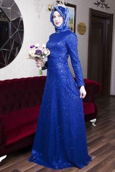 Azra Özer Saks Ay Işığı Tesettür Abiye Elbise