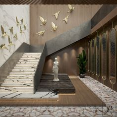 Staircase Of A Hotel Lobby on Behance Stair Railing Design, Home Stairs Design, Stair Decor, Staircase Interior Design, Staircase Design Modern, Staircase Decoration, Hallway Decorating, House Front Design, Door Design