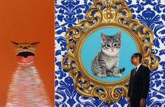 More than 75 artists drew inspiration from cats to create photographs and paintings to be shown at a cat art show in Los Angeles.