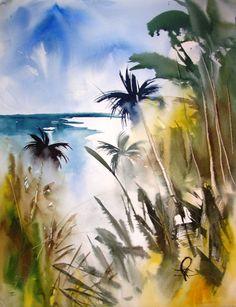Beach Overlook ~ Roy Fuller Watercolor Water, Watercolor Trees, Watercolor Artists, Watercolor Landscape, Landscape Art, Landscape Paintings, Watercolor Paintings, Tropical Art, Paintings I Love