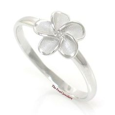 Hawaiian Jewelry Plumeria Flower Band Ring Crafted of Sterling Silver 925