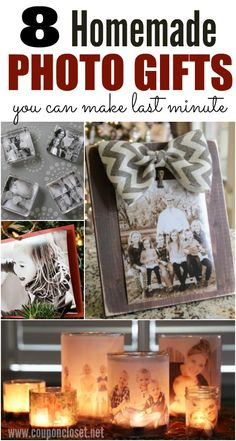 Wedding Gift Ideas Here are 8 Homemade Photo Gift Ideas that you can make for family and friends. - Make one of these easy homemade photo gift ideas for Christmas, a birthday or any occasion. I know grandparents would love these homemade photo gift ideas. Diy Christmas Gifts For Family, Diy Gifts For Kids, Diy Gifts For Friends, Homemade Christmas Gifts, Craft Gifts, Holiday Gifts, Christmas Store, Diy Gifts With Photos, Christmas Presents