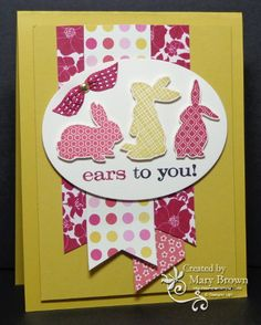 SU! Ears to You stamp set; Print Poetry DSP; colors are Raspberry Ripple, Primrose Petals and Summer Starfruit - Mary Brown