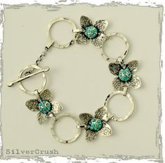 Sterling silver floral bracelet with blue opals by Etsy artist silvercrush