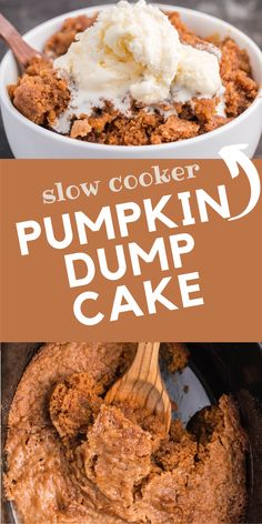 Pumpkin Dump Cake - This delicious fall dessert is quick and easy! The slow cooker can truly beat your oven for perfectly moist dump cakes.