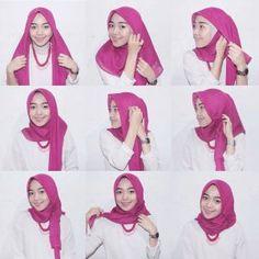 kumpulan gambar tutorial hijab segi empat sederhana terbaru simpel - my ely Tutorial Hijab Segitiga, Tutorial Hijab Wisuda, Square Hijab Tutorial, Simple Hijab Tutorial, Cara Hijab, Turban Hijab, Ootd Hijab, Hijab Chic, Model Kebaya