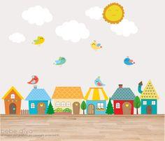 City Wall Decals Wall Decals Nursery Baby Wall by BebeDivaBoutique Nursery Stickers, Nursery Wall Stickers, Kids Wall Decals, Balloon Wall, Balloons, Nursery Neutral, Nursery Boy, Playroom Decor, Kids Room