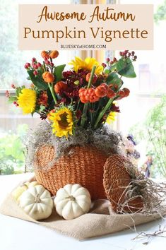 Awesome Autumn Pumpkin Vignette. Inpsiration for a simple fall arrangement with pumpkins as the focal points for any area of your home decor.