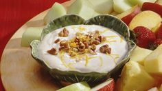 Looking for a cheesy accompaniment for your fruits using Yoplait® yogurt? Then check out this nutty and tangy dip made using orange, pecans and nutmeg – ready in just 10 minutes.