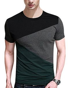Buy Men Soft Elasticity Classic Fit Block Stitch Crew Neck Long Sleeve Jersey T Shirt - Short Sleeve Green - and Others Best Selling Men's Tee Shirts with Affordable Prices Outfits Casual, Mode Outfits, Casual T Shirts, Men Casual, Mens Tee Shirts, Henley Shirts, Hippie Shirt, Camisa Polo, Summer Shirts