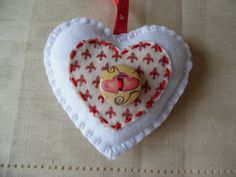 Felt Hanging Heart - White / Red - Valentine by DaisyFelts on Etsy