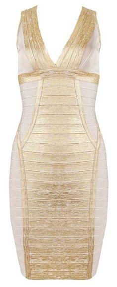 Celeste Metallic Foil Contrast Bandage Dress - Gold from RawGlitter.com