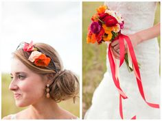 Coral, orange, and peach floral crown and bouquet. Chicago and midwest wedding inspiration. Image by Ashley Biess Photography / http://www.ashleybiess.com