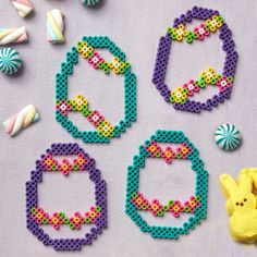 These colorful Perler egg silhouettes are great to use for ornaments or tucking into Easter baskets. Melty Bead Patterns, Hama Beads Patterns, Beading Patterns, Pearler Beads, Fuse Beads, Easter Egg Pattern, Beading For Kids, Art Perle, Hama Beads Design