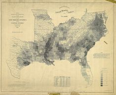 Map showing slave populations in the southern states. The highest concentrations are in western Mississippi and South Carolina.
