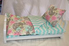 Elegant Pink Grey and Teal Chevron and Bird Print Doll Bedding by RudyCrafts.  Perfect for American Girl Doll Beds.