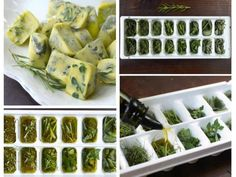 Preserving herbs in frozen olive oil. Maintains the flavor intact. Just fill each cube with fresh herbs and olive oil and freeze overnight. (Works better with thick herbs such as oregain and rosemary. thin leave herbs like basil are better used fresh). Freezing Fresh Herbs, Preserve Fresh Herbs, Freeze Herbs, Deep Freeze, Cooking Tips, Cooking Recipes, Healthy Recipes, Easy Cooking, Snacks