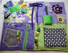 Purple and Greens Fidget Quilt for Dementia, Alzheimer's and others. by TotallySewn on Etsy