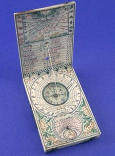 Lienhard Miller, sundial, 1620. Ivory. Germany |  Diptych dials became popular during the 16th and 17th centuries. They were used as portable timepieces. The sun was used for telling time during the day, and the moon at night. Miller was a famous instrument maker who worked in Nuremberg.