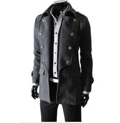 love this look down to the ceased pants, the button coat is a great look