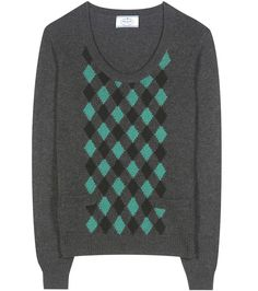 Prada - Argyle cashmere sweater - A cashmere sweater is a luxury staple and Prada knows it. Crafted in a charcoal-grey hue, this essential style is finished with an argyle front for a retro look. The rounded neckline promises to show off your prettiest shirt collar. seen @ www.mytheresa.com